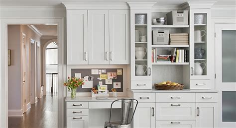 stunning kitchen office with white cabinets with
