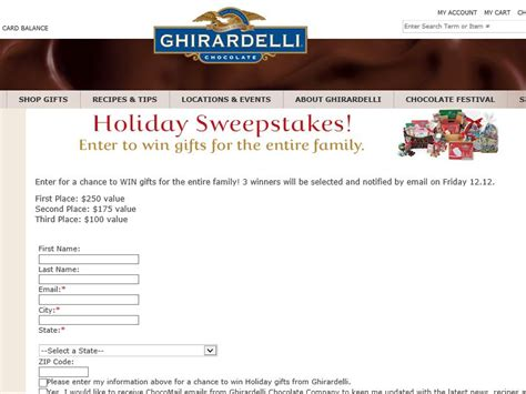 Holiday Cash Sweepstakes 2014 - ghirardelli chocolate 2014 holiday sweepstakes