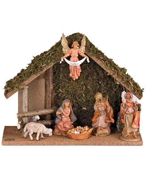 roman fontanini nativity 7 piece set with stable holiday