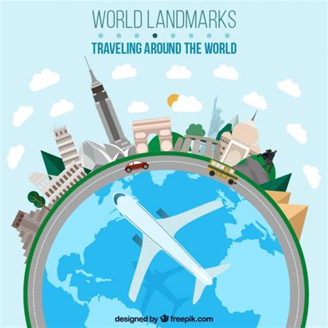 traveling around the world in flat design vector free