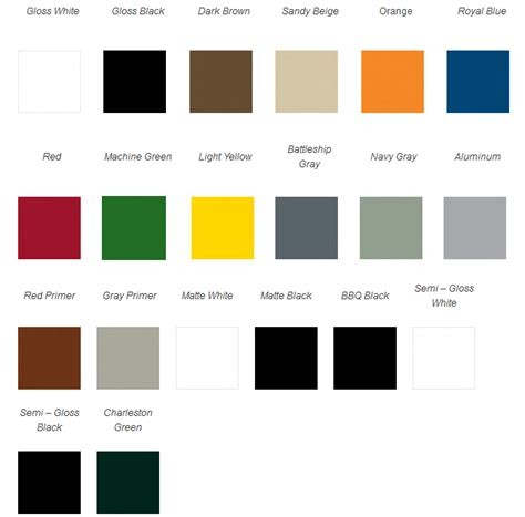 spray paint color chart rustoleum