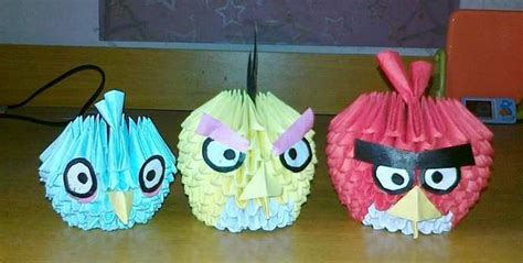 origami 3d angry bird tutorial 3d origami angry bird set block folding pinterest