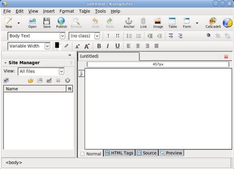 bluefish editor design view web development made easy with bluefish and kompozer