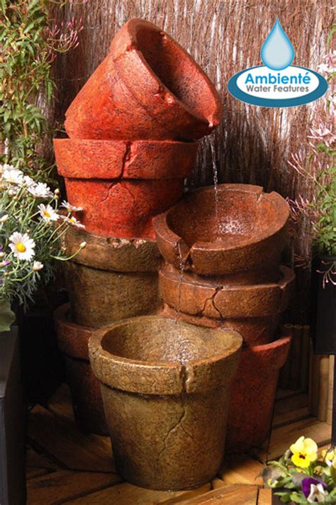 hcm stacked plant pot cascading water feature