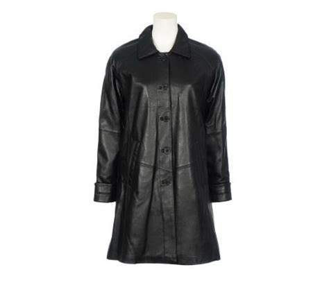 swing leather coat excelled lamb leather swing coat qvc com