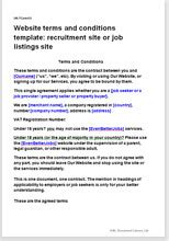 website t c template recruitment site or job listing site