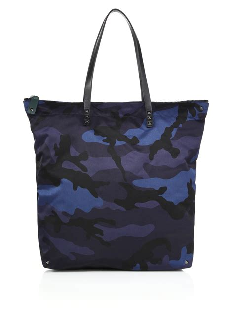 Rugged Travel Luggage Valentino Nylon Camouflage Print Tote In Blue For Men Lyst