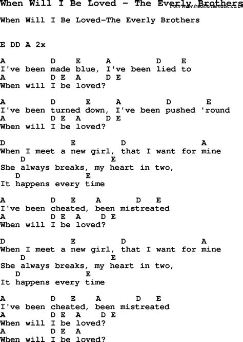 Song When Will I Be Loved by The Everly Brothers, with