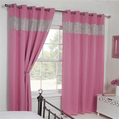 pink curtains ebay thermal blackout diamante eyelet grommet pair of curtains