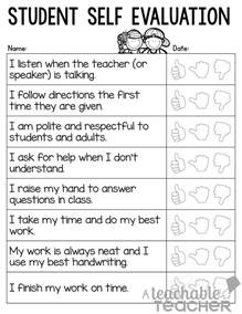 Student Self Evaluation Templates by A Teachable Parent Conference Tips And