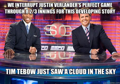 Justin Verlander Meme - breaking news into sportscenter the broncos suck