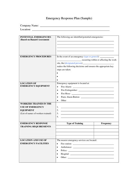 emergency preparedness and response plan template best photos of sle emergency plan emergency