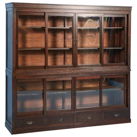 Bookcase Cabinets With Doors Antique Japanese Bookcase Or Cabinet With Sliding Glass Doors Circa 1890s At 1stdibs