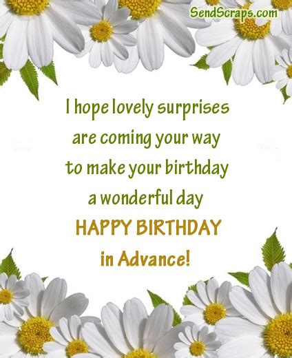 Happy Birthday Wishes In Advance Sms Top 100 Happy Birthday Wishes In Advance Birthdaywishes