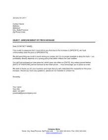 Price Increase Letter Template by Price Increase Letter Writing Professional Letters