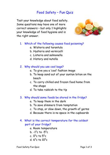 food safety quiz by goldson1 teaching resources tes