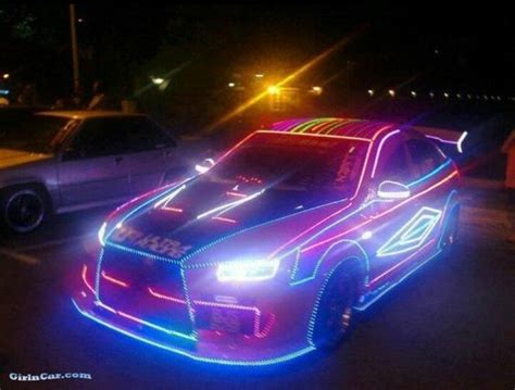 light on car sports car decked out in led lights neon rod baybeh