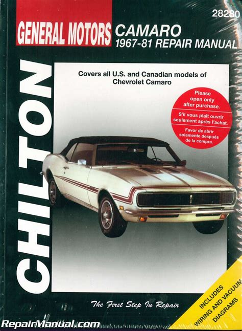 book repair manual 1978 chevrolet camaro on board diagnostic system 1967 1981 chevrolet camaro repair manual by chilton