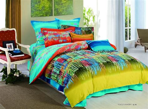 graffiti bedding reactive sanding 4pcs fresh yellow blue graffiti stripe