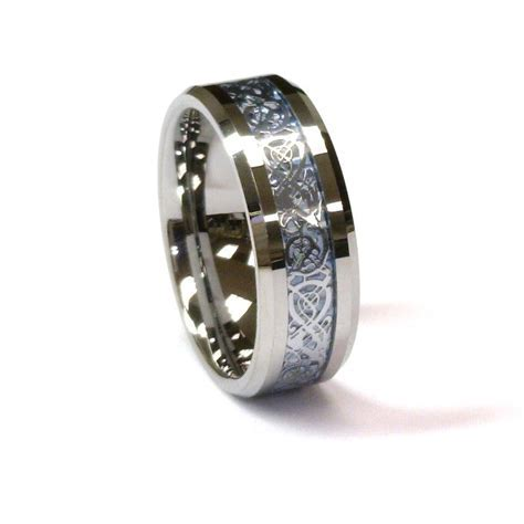 Amz 8mm Tungsten Carbide Ring Silver Celtic Dragon on Sky