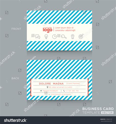 trendy business cards templates trendy business card design template with blue stripe