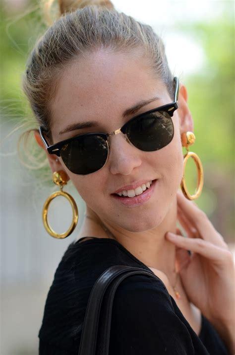 woman wearing ray ban sunglasses chiara ferragni of tbs wearing rayban clubmaster