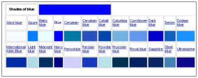 different colors of blue different colors of blue chart home design