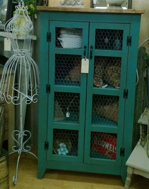 Teal Pie Safe Style Storage Cabinet / Quilt or Linen