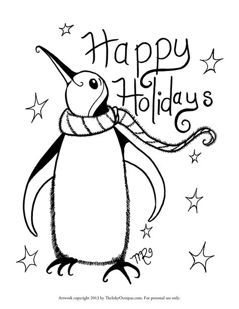 free coloring pages happy holidays printable holiday coloring pages the inky octopus