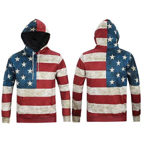 cool pattern hoodies men s cool stylish long sleeve 3d print american flag