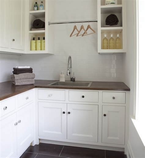 Cottage Kitchen Backsplash Ideas by Laundry Room With Butcher Block Countertops Design