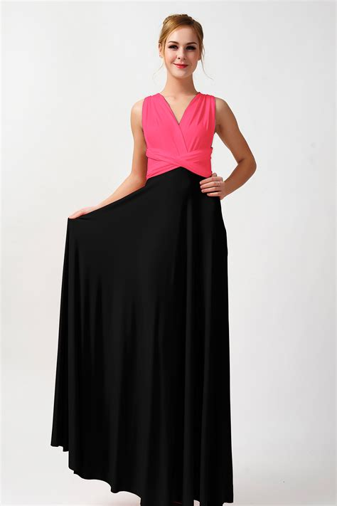 Dress 01300701 Two Colour two colors convertible bridesmaid dress pink and black dress pt 15 73 80 infinity