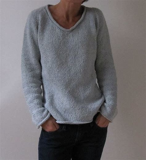 easy knit sweater pattern for man simple summer tweed top down v neck free pattern by heidi