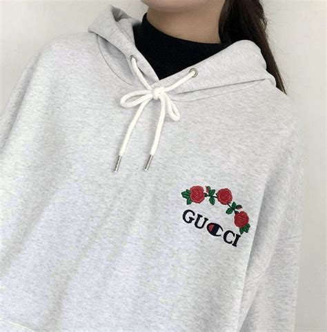 Sweater Grey Flower sweater grey fashion floral roses trendy gucci chion casual embroidered wheretoget