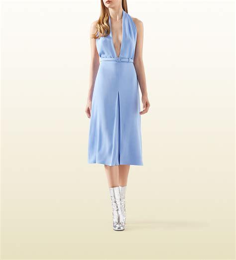 light blue satin dress lyst gucci light blue silk crepe dress in blue