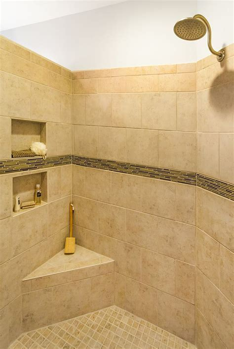 Rain shower head with built in bench and storage.   The