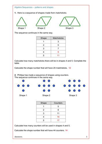 pattern worksheet ks2 maths algebra ks2 ks3 ks4 revision sequences from