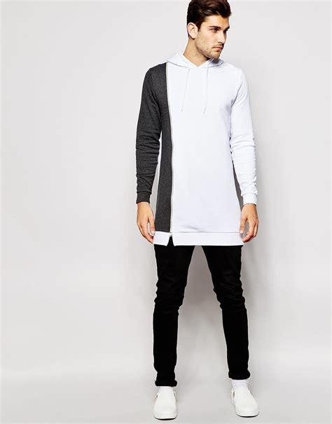 Jacket Hoodies Gojek 06 asos longline hoodie with zip contrast panel in gray for lyst