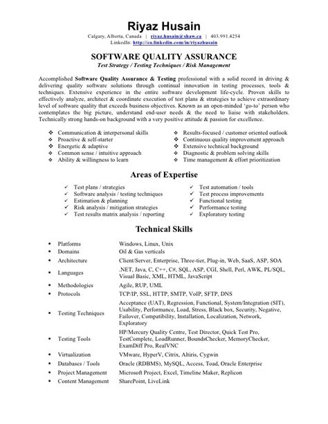 Resume Sles For Qa Analyst Quality Assurance Tester Resume Best Resume Gallery