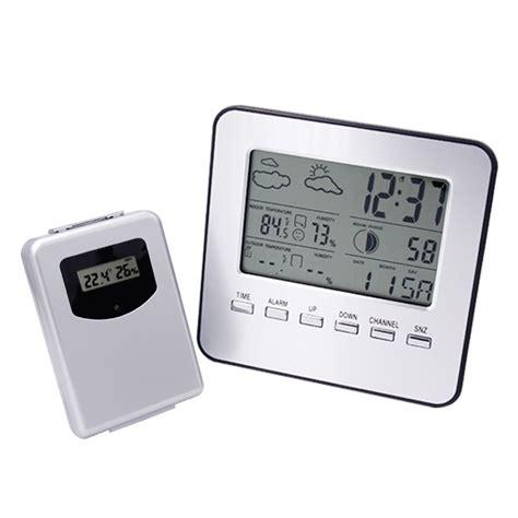Rumauma Haptime Weather Station Indoor Outdoor Digital Alarm Clock Wi Lcd Wireless Weather Station Digital Indoor Outdoor Thermometer Hygrometer Temperature Humidity