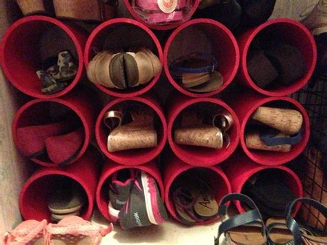 shoe rack pvc pipe shoe rack organizer made from 6 inch by 10ft pvc pipe from lowe s cut into 10 11inch sections