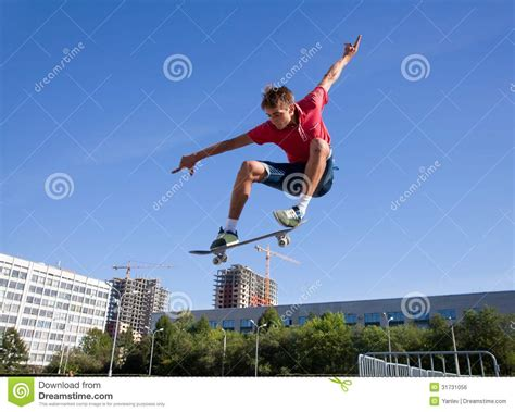 jump free jump on skateboard royalty free stock image image 31731056