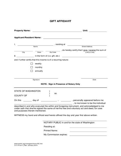 Gift Letter Affidavit affidavit of non prosecution free