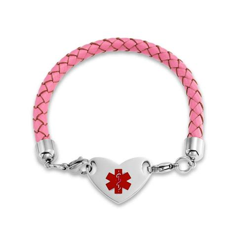 Pink Braided Leather Stainless Heart Medical Alert ID Bracelet 7in