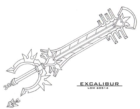keyblade coloring pages excalibur keyblade by lorddragonmaster on deviantart