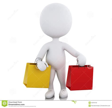 escalade commercial white guy carrying bags 3d white people with shopping bag stock illustration