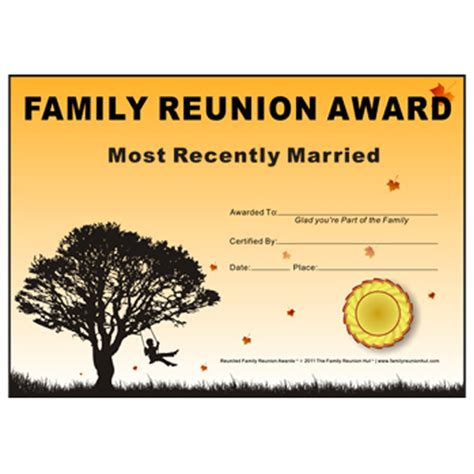 family reunion templates family reunion hut most recently married award