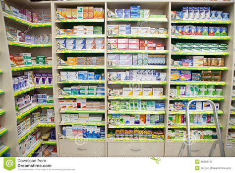 Shelf Of Medicine by Medicine In A Pharmacy Editorial Photography Image 46302117