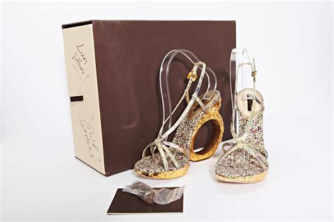 Louis Vuittons Feerique T Sandals Shoes With Gold Plated Heels by Louis Vuitton Womens Gold High Heel Sculpted Wedge