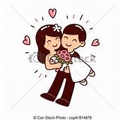 Mignon Couple Mariage Style Illustration